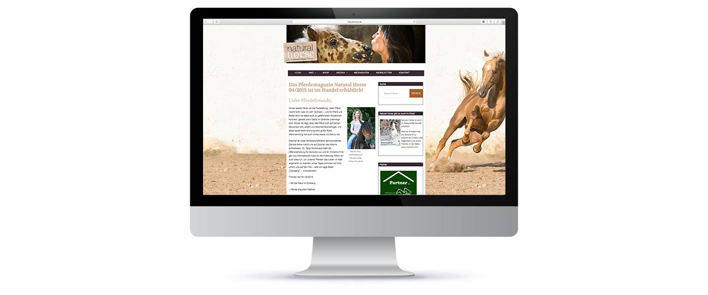 Portal Website für Natural Horse